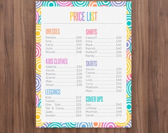 Price List Poster, 18x24 and 8.5x11 inches, Price list Banner, Home Offcie Approved Colors & Fonts, Prices Poster, Large Price List