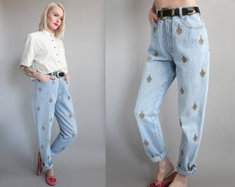"""Vtg 90s Gold Embroidered High Waisted Mom Jeans 28"""" Waist sz M/L"""