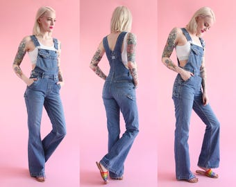 Vtg 90s Fitted Flare Leg Overalls by Silver Jeans sz XS