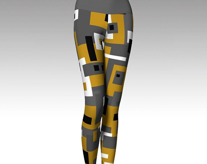 Geometric Gold and Gray Printed Leggings, Mid Century Modern Leggings, Yoga Pants, Wearable Art, Women's Leggings, Printed Leggings, Gift