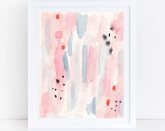 Printable Pink Blue Print, Pink Blue Abstract Art, Pink Watercolor Print, Watercolor Printable Art, Pastel Print, Pastel Abstract Art, Print