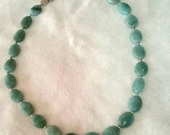 Genuine Aquamarine Necklace/Natural Aquamarine Jewerly/March Birthstone Necklace/Navajo Indian Made