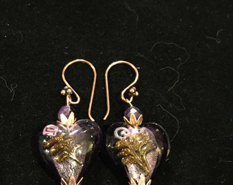 Purple lampwork valentines earrings Purple Heart shaped earrings  copper accents Valentine gift for her