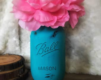 Turquoise Mason Jar, Dorm Decor, Turquoise, Wedding Centerpiece, Baby Shower Centerpiece, Office Decor, Blue Centerpiece, Rustic decor