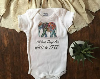 Elephant baby clothes - elephant baby outfit - safari baby - endangered species - rainbow baby onesie® - all good things are wild and free