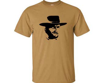 The Good The Bad And The Ugly Clint Eastwood (Blondie) Silhouette On A Men's Gildan Tee