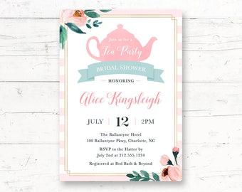 Garden Tea Party Bridal Shower Printable Invitation, High Tea Custom Printable Invite