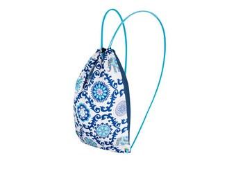 Cotton drawstring backpack gym bag Blue Ethnic