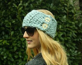 Pantone Blue Crochet Ear Warmer, Neck Warmer, Headband with Button