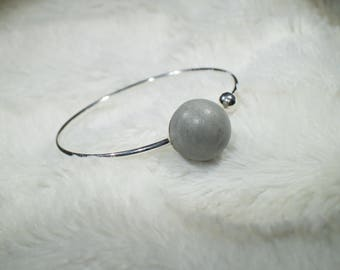 Bracelet 925 silver with concrete ball