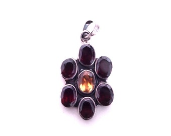925 Sterling Silver pendant garnet and citrine