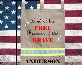 Firefighter TAN Garden Flag - Land of the Free because of the Brave