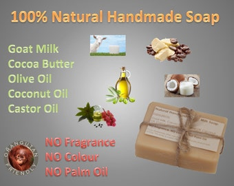 100% Natural Handmade Goat Milk Cocoa Butter Soap, Unscented, Palm Oil Free