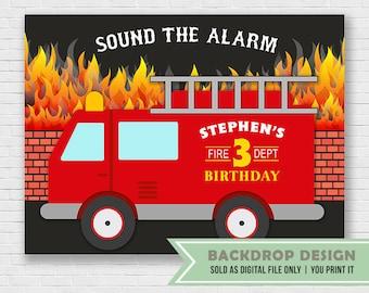 Sound the Alarm Backdrop // Firetruck Birthday Banner Backdrop // Firefighter Backdrop