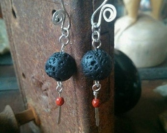 Lava Rock & Jasper Earrings