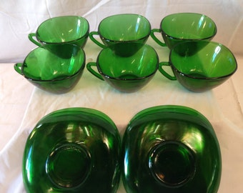 A set of 6 French Green Glass Vintage Vereco cup and saucers-generous size and lovely shape