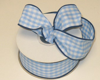 "Wired ribbon gingham blue TEN YARDS, size 1.5"" wide"