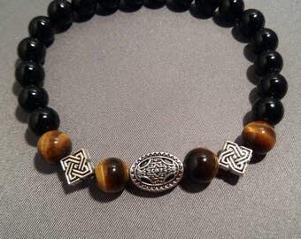 Mens Black Onyx and Tiger Eye Bead Bracelet