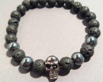 Mens Lava Rock beaded Skull Bracelet