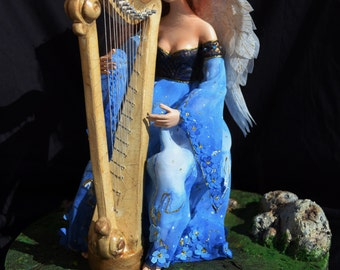 Doll with a harp/angel with a harp/blue dress doll/ Handmade painted fabric/musician doll/musician gift/Artdoll/interior collectible doll