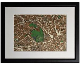 Kings Cross, Camden, Regents Park. Original papercut art. A layered papercut map of NW1 inc. Chalk Farm, Primrose Hill & Marylebone.
