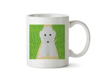 Blue Bedlington Terrier Sitting On Garden Path Mug