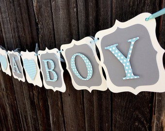 Boy or Girl Baby Banner, Polka Dot Pink or Blue, Baby Shower Banner, Baby Shower Decorations, Pink and Gray Its A Girl banner, its a boy