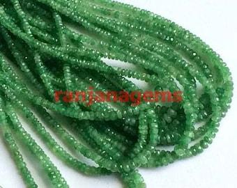 TSAVORITE faceted rondelle beads ,natural tsavorite beads , green tsavorite loose gemstone beads necklace