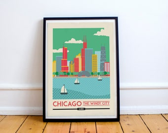 Chicago Print - Chicago Skyline, Wall Art Prints, Wall Home Decor | Travel Poster