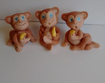 Edible Monkey cake toppers, decorations