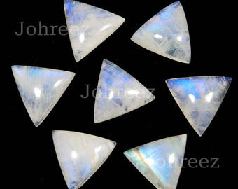 20 Pieces Natural Blue Flashy Rainbow Moonstone Triangle Shape Gemstone Cabochon Flat Back