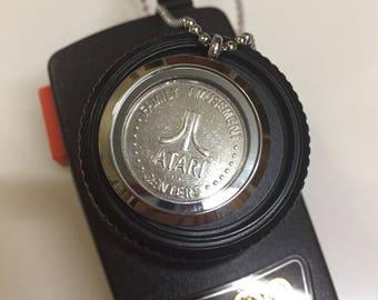 Retro gaming Vintage Atari gift /gamer gift necklace/geek pendant locket with Rare arcade game machine token- unusual gift for gamers