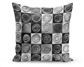 Pillow Cover, Abstract Pillow Cover, Black and White Pillow Cover, Abstract Art Pillow Cover, Black Circles Pillow, Modern Art Pillow Cover
