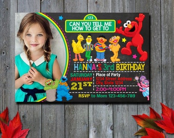 Elmo  Invitation / Sesame Invitation / Elmo Birthday Invitation / Girl Invitation / Sesame Birthday Invitation / Birthday Invitation / NR