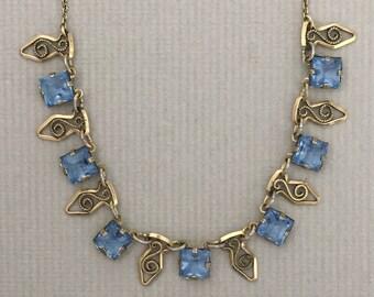 Edwardian Blue Glass Necklace