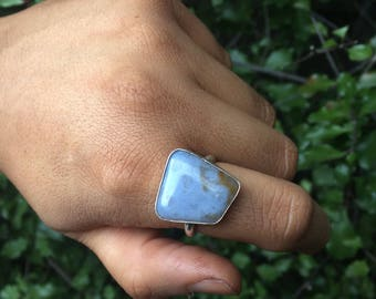 Blue Lace Agate Ring / Sterling Silver Ring / Blue Agate Ring / Large Stone Ring / Gemstone Ring / Blue Stone Ring / Square Stone Ring