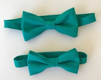 Toddlers Jade Green Bow Tie; Adult Jade Green Bow Tie; Father & Son Jade Green Color Bow Ties; Matching Adult-Child Bow Ties; Pre-Tied Ties