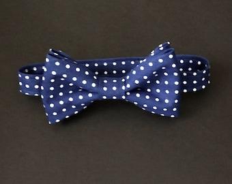 Royal Blue Polka Dot Boys Bow Tie, Baby Royal Blue Polka Dot Bow Tie, Blue & White Polkadot Toddlers Bow Tie, Little Boys Royal Blue Bow Tie