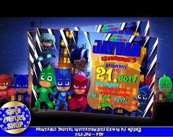 Pj Masks Digital personalized invitation , pj masks invite, pj masks party, pj masks birthday, pj masks personalized , pj masks custom,pj