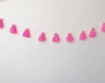 Yarn Tassel Garland Mini Tassel  >>> Neon Pink/Hot Pink