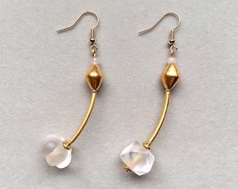Antique Crystal Earrings, Moroccan 18K Gold Earrings, Antique Nepalese 24K Gold Earrings, 18K Gold Filled Fish Hooks,Hypoallergenic Earrings