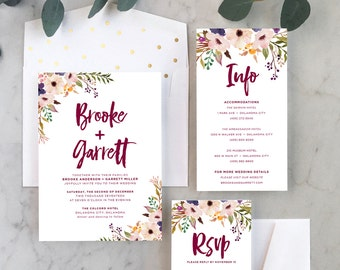 Fall Floral Wedding Invitations