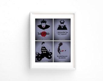 Evil Disney Villain Printable! Wicked Queen, Maleficent, Ursula, and Cruella De Vil!