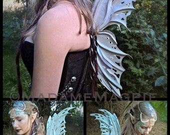 Bespoke, leather Faery wings. 'Arctic Blue'