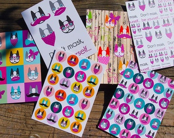 Boston Terrier greeting cards, set of 6 pcs, postcard, stationery, colourful, celebration