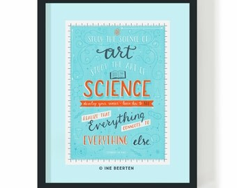 Study The Science of Art, Study The Art Of Science Quote - Leonardo Da Vinci Giclée Art Print 16x12""