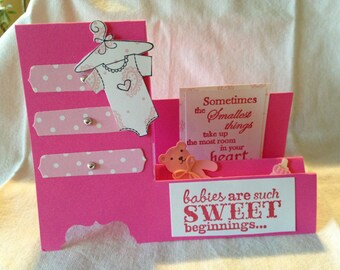 Handmade baby side step dresser card