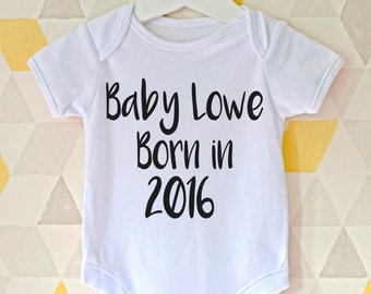 Personalised baby vest, new baby gift, going home outfit, baby shower present, newborn baby, personalized romper, pregnancy announcement