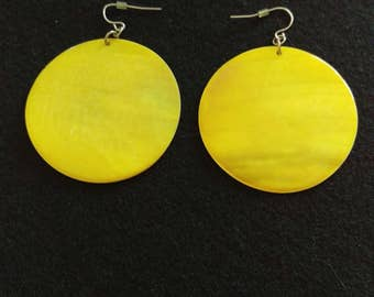 Bright Yellow Pendant Earrings