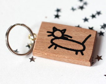 Wooden key tag Hobo Cat Sign for 'Kind woman lives here' Personalised Option